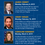 TOWN HALL Lecture Series: Save the Dates for 2019!