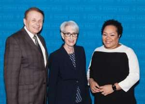 Dr. Larry Thompson, Ambassador Wendy R. Sherman and Yamiche Alcindor